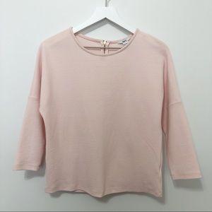 Bar III Blush Pink Textured Dolman Sleeve Top